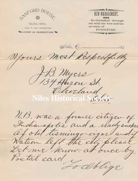 A letter mailed September 24, 1895 with the letterhead of the Sandford House.