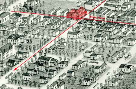 In 1836, L.W. Sandford built the Sandford House which is highlighted in red below in a section of the Panoramic View of Niles, Ohio, 1882.