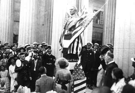 June 18, 1921- Mrs. J.D. Waddell nee Mary Ann Thomas unveiling the bust of Warren G. Harding at the McKinley Memorial.