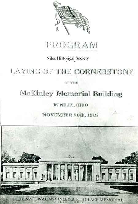 A photo of the front cover of the program used at the Laying of the Cornerstone