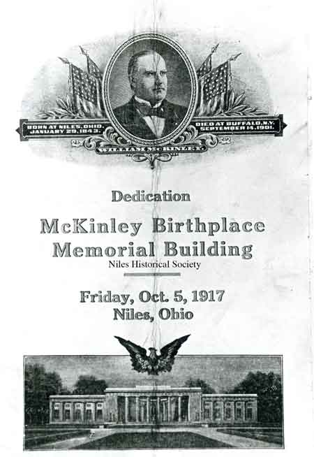 A photo of the front cover of the program used for the dedication of the McKinley Memorial on October 5, 1917. The Honorable William Howard Taft was the guest speaker.