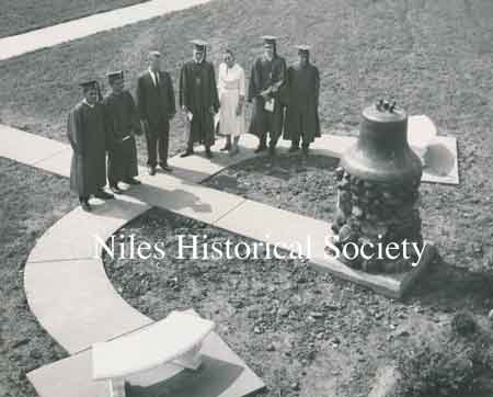 The 1959 Senior Class Project, under the sponsorship of Miss Anna Compana, had the bell moved from the old McKinley High School to a pedestal in front of the new Niles McKinley High School.