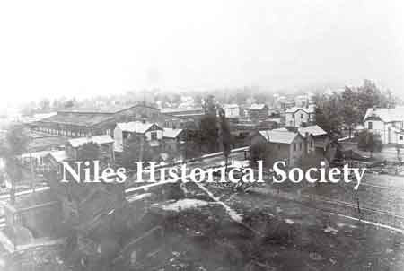 Photo of one building of the Niles Car & Manufacturing Co. taken from atop the water tower in the early 1900's.