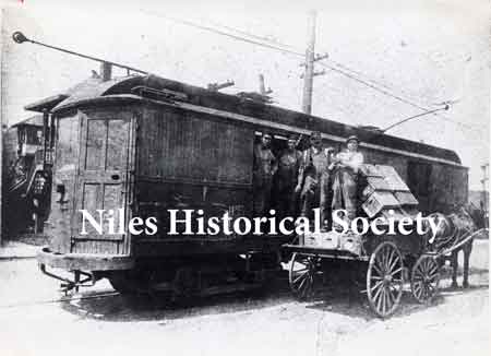 Freight car. All streetcars were not passenger cars. Some were used to haul freight, as in this picture — beer.