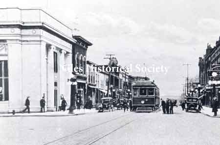 Main Street looking south about 1920 with the streetcar running.