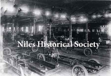 Inside the Niles Car & Manufacturing Co. about 1915 when the streetcars were being phased out and truck chassis were being built.