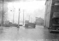 Downtown area during the flood. 1913