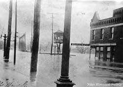 Looking south up Main Street from bridge. 1913 flood.