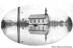The Southside Presbyterian Church during the 1913 flood.