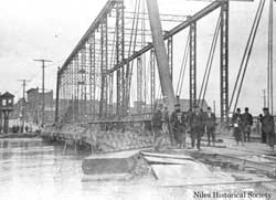 South Main Street iron bridge was extensively damaged during the flood of 1913