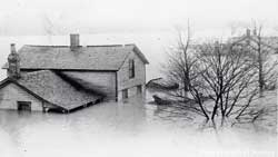 In the flood of 1913, this was one of the houses along the river.