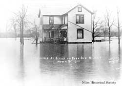 Marooned by flood on Park Avenue Niles Ohio March 26th, 1913.
