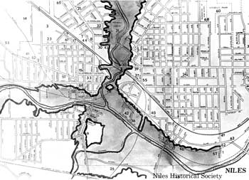 Map of area of 1913 Flood in Niles, Ohio