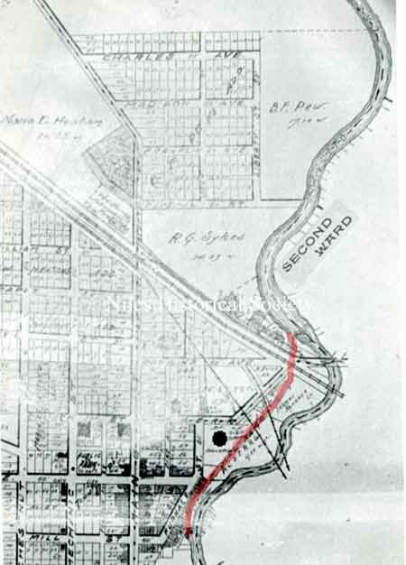 An undated map of Niles showing the area east of Robbins Avenue.