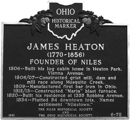 Ohio Historical marker listing James Heaton's accomplishments located on South Main Street across from The McKinley Museum and Research Center.