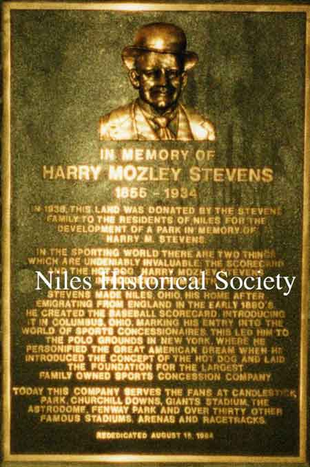 Plaque at the entrance to Stevens Park honoring Harry Mozley Stevens.