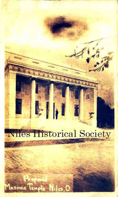 The image to the left shows the proposed Masonic Temple that was to built in Niles, Ohio