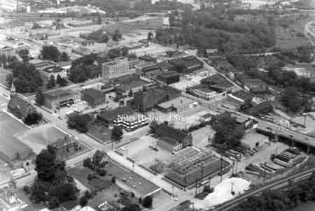 A collection of aerial maps of downtown Niles, Ohio taken by Paul Ingledue prior to urban renewal in 1976.