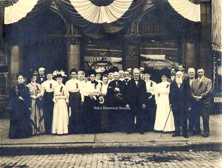 "A photo made of a picture in the newspaper of the children of the ""Little White Schoolhouse"" where President McKinley attended."