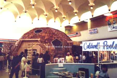 Photo taken of the model geodesic dome house displayed inside the Eastwood Mall, spring, 1985.