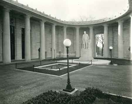"The McKinley Memorial ""Court of Honor"" and the J. Massey Rhind statue of William McKinley."