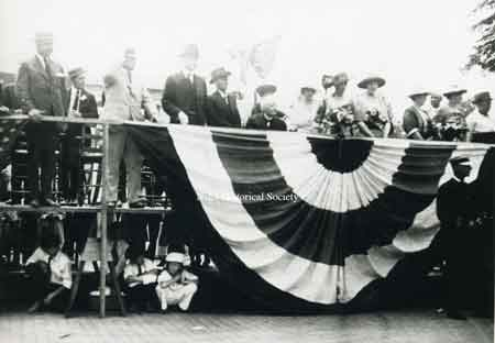 Another in a series of shots of the unveiling of the Warren G. Harding bust at the McKinley Memorial in 1921.