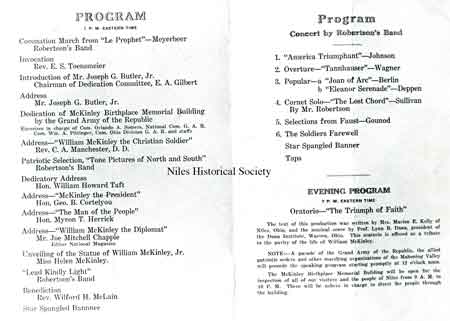 A photo of the inside of the program used to commemorate the dedication of the McKinley Memorial in Niles, Ohio on Oct. 5, 1917.