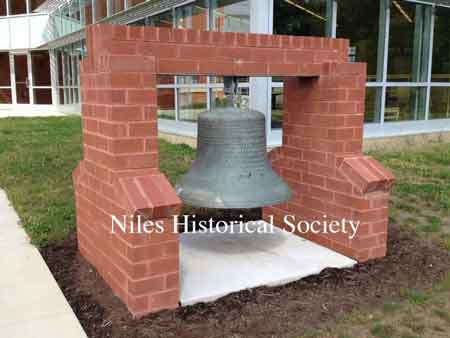 The Old Central School bell at the new Niles McKinley High School on Dragon Drive.