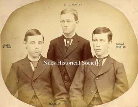 This photograph was taken in 1876 of the graduates of Niles Central School. L-R: Elmer Wilson, A.J. Bentley, and Thomas Robbins.