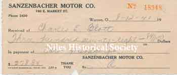 Bill of sale for the Dodge from Sanzenbacher Motors.