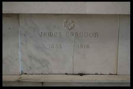 James Crandon, March 3, 1833-October 15, 1918 is buried in Niles Union Cemetery in the Mausoleum: Col 10 Elevation A on the right side in Niles, Ohio.