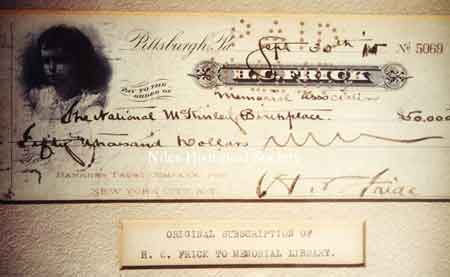 A photograph of the original check wriiten by Henry C. Frick to the Memorial Library in the amount of $50,000.00.