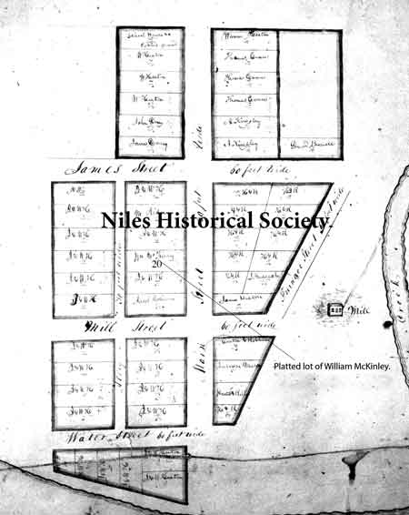 1834 Platting of lots in Nilestown, later Niles, Ohio.