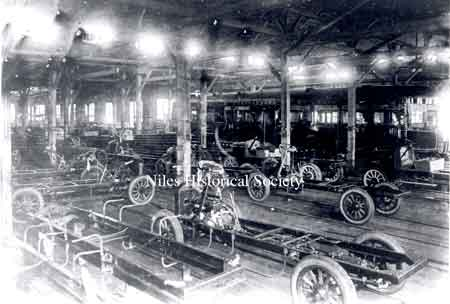 Inside the Niles Car & Manufacturing Com-pany about 1915 when the streetcars were being phased out and truck chassis were being built.
