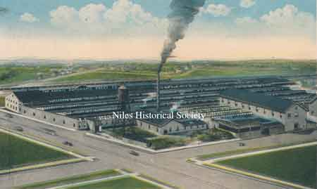 This is an architect's rendering of suggested expansion of the Harris Automatic Press Co., Niles Plant, which never occurred.