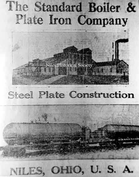 An advertisement from the Niles Daily News dated October 5, 1917 for the Standard Boiler & Plate Iron Company located in Niles, Ohio.