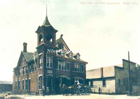 Two different views of the Niles City Building, built in 1895, which housed the horses and fire apparatus with the fire and police departments on the first floor.