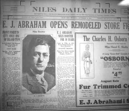 Niles Daily Times, 9-17-1930, article of the new Abrahams' Store opening.