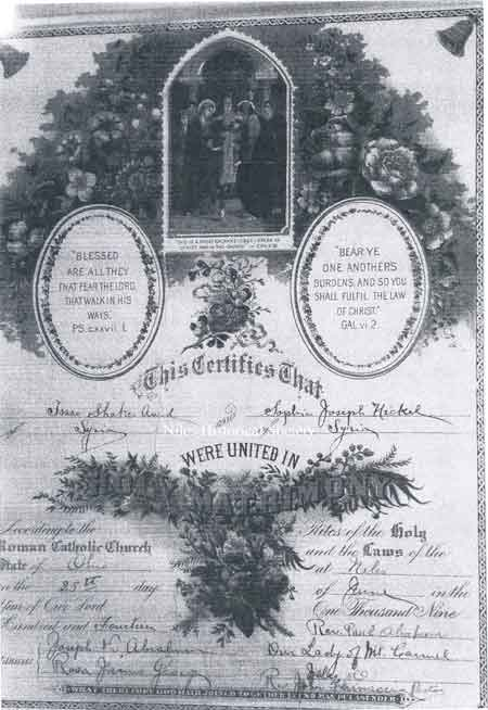 Wedding certificate of Isaac and Josephine Shaker, married on June 25, 1914.