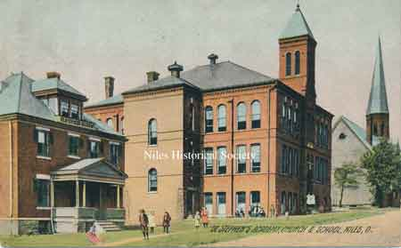 St. Stephen's Roman Catholic Church, Academy and School as it appeared in 1905.S