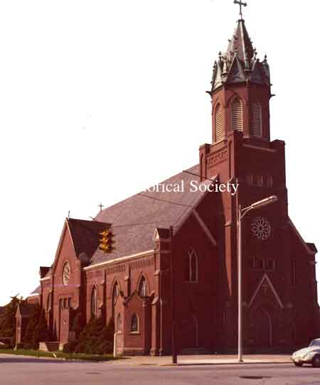 Photo taken of St. Stephen's Catholic church in Niles, Ohio. Dated Aug. 1975