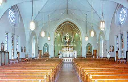 The interior of St. Stephen's Catholic Church after the remodeling in 1953, the 100th year of the founding of the parish