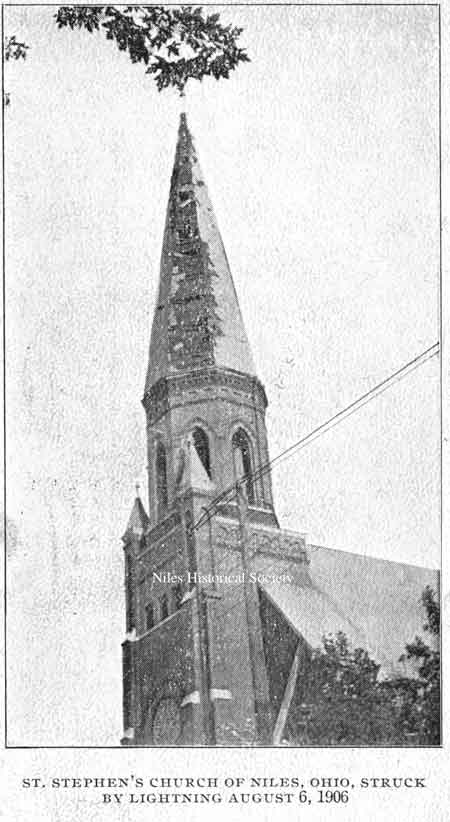 Original steeple of St. Stephen's Church was struck by lightning several times, this photo shows the damage when the steeple was struck in 1906.