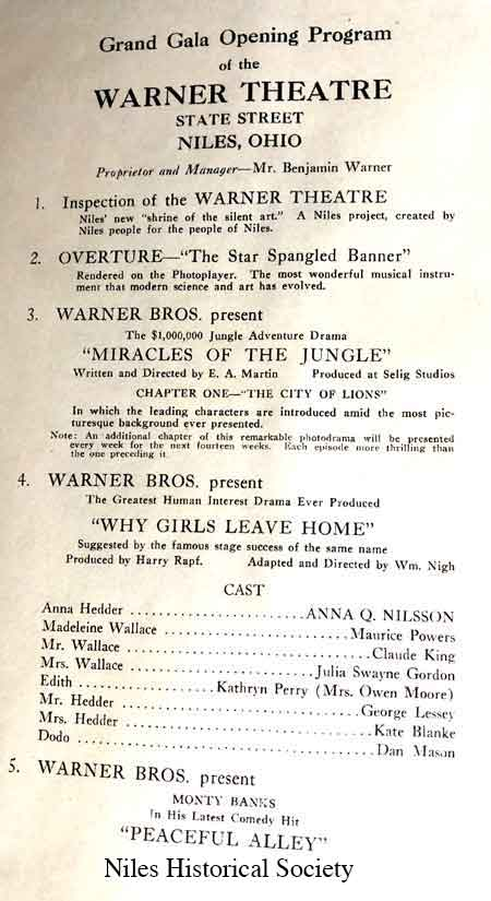 Original text from 1921 opening program of the Warner Theatre in Niles, Ohio.