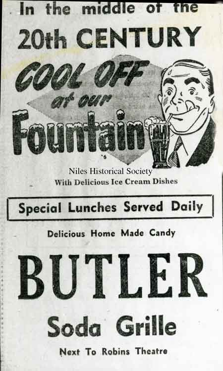 The Butler Soda Grille was located next to the Robins Theatre on South Main Street.